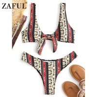 ZAFUL Front Tie Printed Bikini Set Floral Knot High Cut Bikini Swimwear Sexy Bathing Suit Push