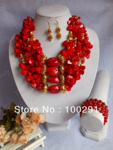 New Fashion Design No.202 Coral Jewelry Necklace bracelet earrings set for African Wedding Bridal