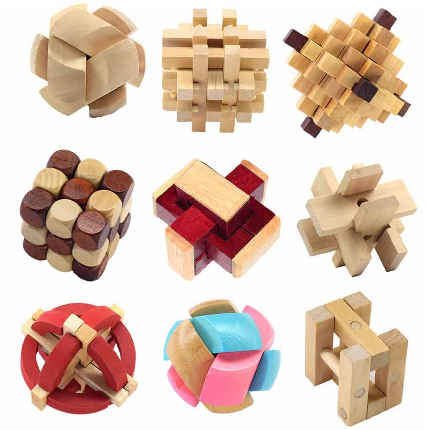 Puzzles For Children New 3D Wooden Toys IQ Brain Teaser Adults Educational Kids Puzzles Games Dropshipping 2018