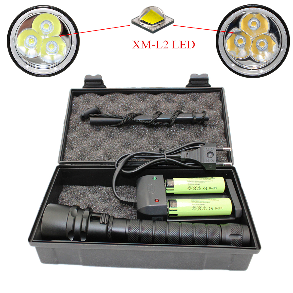 Waterproof L2 LED Flashlight White/Yellow Light 3*XM-L2 LED Dive Torch Underwater Diving Lanterna +18650 Battery +Charger
