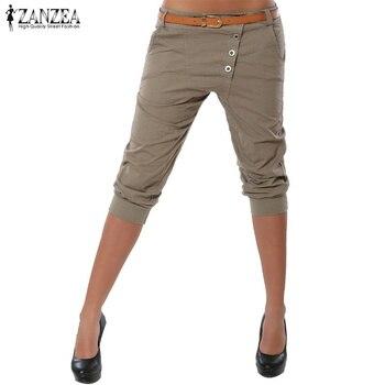 2019 Summer ZANZEA Fashion Women Skinny Party Club Trousers Casual Buttons Pockets Slim Fit Pants Solid Short Pencil Pantalon