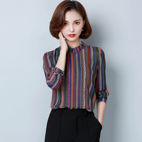 2017 New Autumn Women Shirts Full Sleeve Turn Down Collar Stripedp Business Attire Blouse Shirt Purple