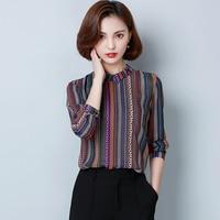 2017 New Autumn Women Shirts Full Sleeve Turn-down Collar Stripedp Business Attire Blouse Shirt Purple Stripes 9253
