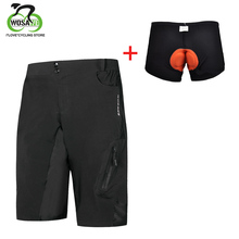 цена на WOSAWE Cycling Shorts Men Outdoor Sports MTB Mountain Bike Shorts Loose Fit Quick-dry Downhill Underwear Motocross Padded Shorts