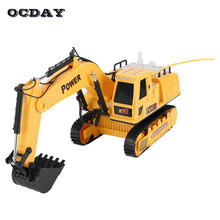 12CH RC Engineer Truck Auto Demo Electric Excavator with Lighting Music Crawler Digger Engineering Vehicle Model Toys For Kids