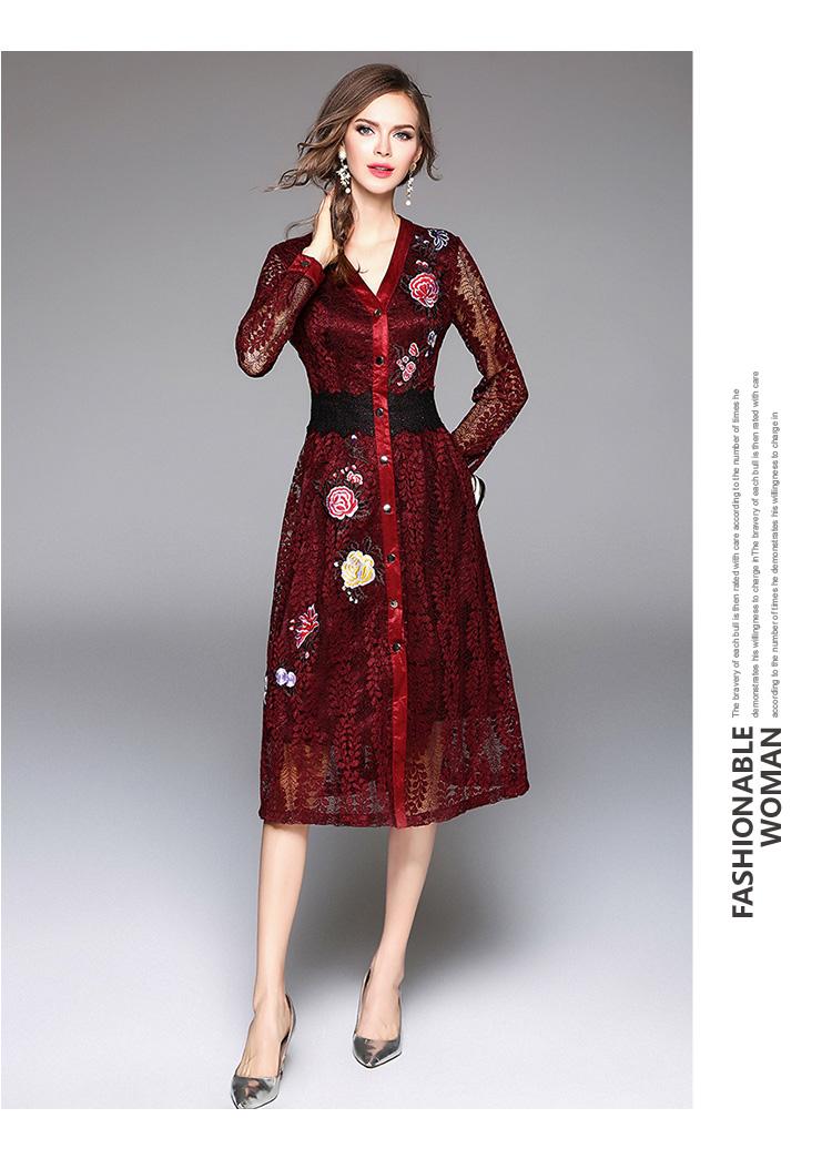 Sky Blue V-neck Floral Embroidered Lace Dress Autumn Dresses Women 2018 Vestido De Festa Hollow Out Christmas Dress K945180 7
