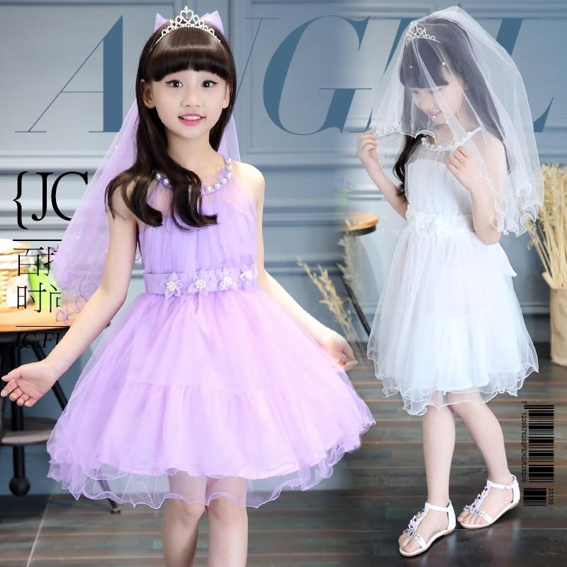 4e131da0e7cbd US $29.39 |Summer Teenage Girls Party Dress Sleeveless Beading Decoration  Lace Tulle Princess Kids Dress For Girls White Pink Purple Dress-in Dresses  ...