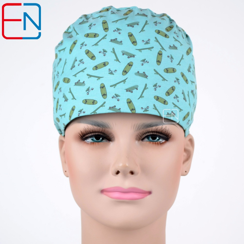 Hennar Medical Scrub Caps With Sweatband 100% Sweatband Scrub Caps Blue Skateboards New Surgical Doctor Nurse Working Cap Unisex