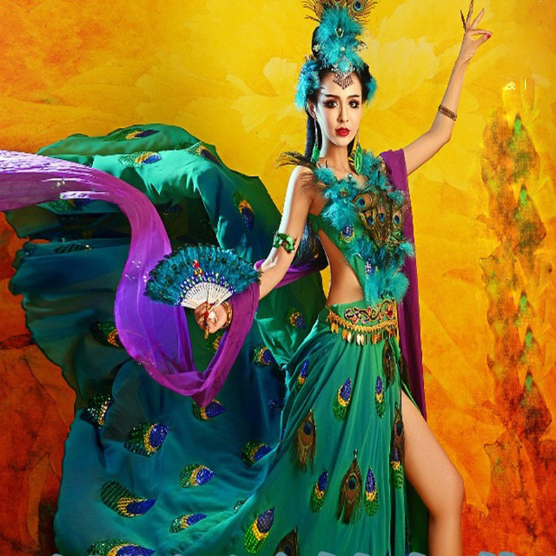 QueWu Exotic Style Classic Dance Peacock Fairy Costume Paillette and Feather Dance Hanfu Cosplay Stage Performance Costume