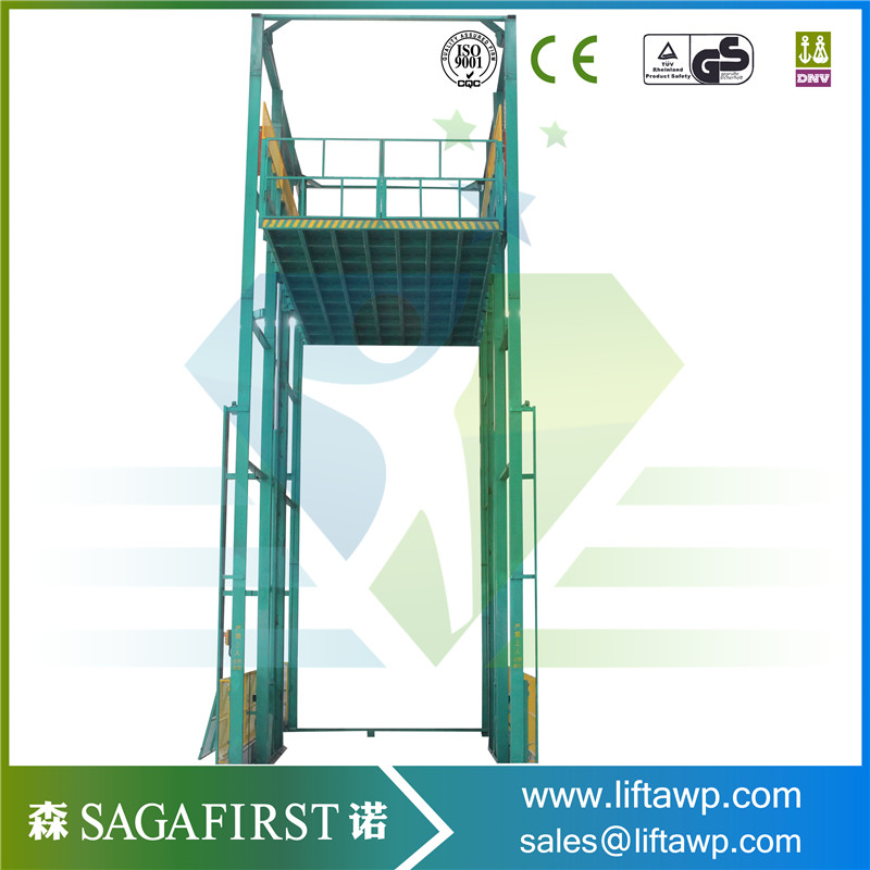 5t Hydraulic Vertical Rail Chains Cargo Lift /goods Lift For Sale
