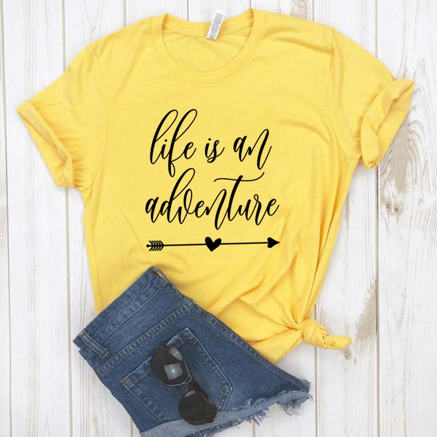 Life Is An Adventure Print Women Tshirt Cotton Casual Funny T Shirt For Lady Girl Top Tee Hipster Drop Ship NA-174