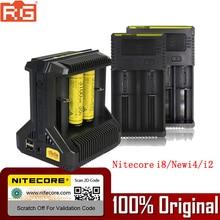100% Originele Nitecore Battery Charger I8 NIEUWE I2 I4 LCD Intelligente Lader Li Ion 18650 14500 16340 26650 AAA AA 12 v Charger