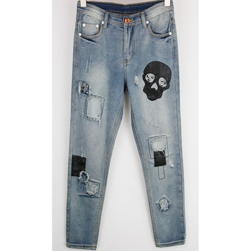 dc3af9303 Boyfriend ripped jeans women patchwork jeans skull pants Cool denim vintage  jeans Women Mid waist casual pants female-in Jeans from Women's Clothing on  ...