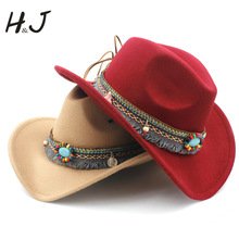 Модные женские шерстяные полые ковбойские пояса с кисточками элегантные женские Джазовые ковбойские джазовые токи сомбреро размер 56-58 см