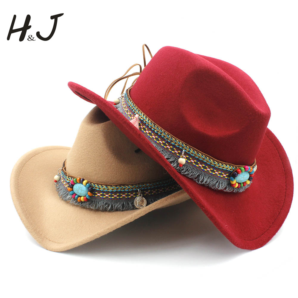 Fashion Women's Wool Hollow Western Cowboy Tassel Belt  Elegant Lady  Jazz Cowgirl Jazz Toca Sombrero Cap Size 56-58CM