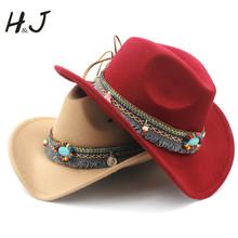 Mode frauen Wolle Hohl Western Cowboy Quaste Gürtel Elegante Dame Jazz Cowgirl Jazz Toca Sombrero Cap Größe 56-58 CM cheap Cowboyhut WOMEN Erwachsene Fest HXG JQX Beiläufig 57-58CM adjused size 10CM 56-58CM