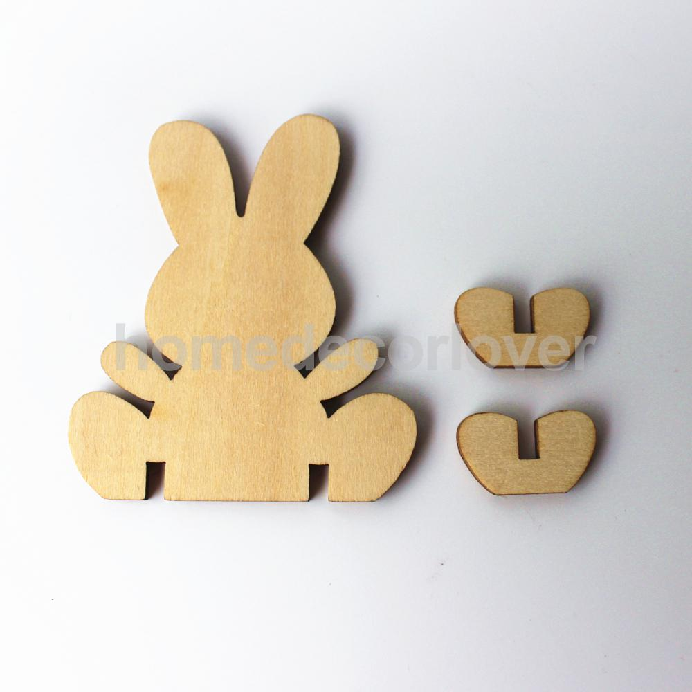 10pcs standing bunny rabbit unfinished wood shape craft supply laser cut out