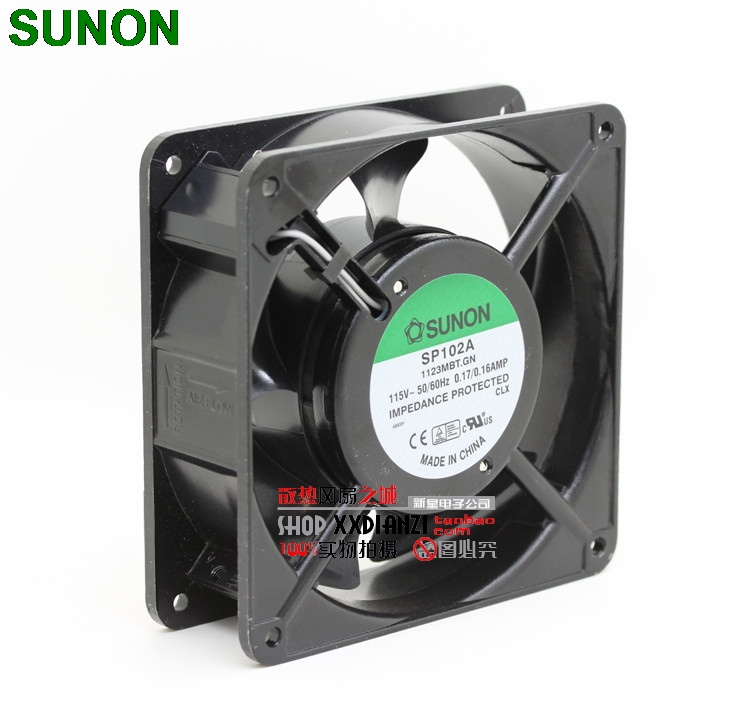 SUNON SP102A 1123MBT.GN 12038 12cm 120mm AC 115V/110V 12cm 120mm aluminum server inverter coolin fan  sunon 3006 30mm 3cm kde0503pev3 8 5v 0 35w 0 07a silent quiet server inverter hdd coolinig fan
