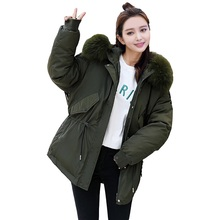 TYJTJY Hooded Faux Fur Collar Parka Mujer 2018 Casual Loose Winter Jacket Women Thick Warm Coat Female Padded Overcoats camo insert faux fur hooded padded jacket