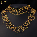 U7 Trendy Multi-Layer Circle Necklaces Bracelet Jewelry Sets Party Gold Plated Necklace Sets For Women S621