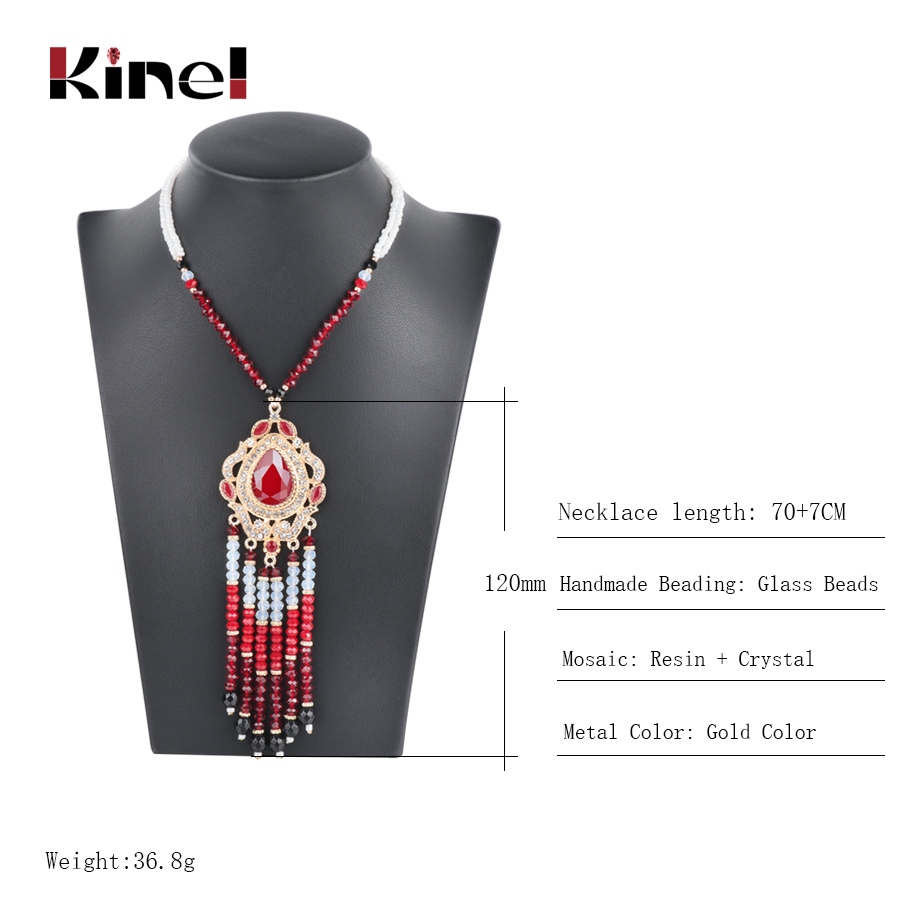 Kinel Luxury Indian Ethnic Long Tassel Necklace For Women Fashion Gold Boho Handmade Beading Crystal Vintage Wedding Jewelry in Pendant Necklaces from Jewelry Accessories
