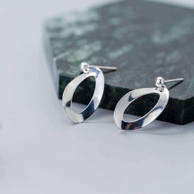 Inzatt BoHo Nyata 925 Sterling Perak Kepribadian Geometris Minimalis Drop Anting-Anting untuk Wanita Pesta Fashion Perhiasan Hadiah
