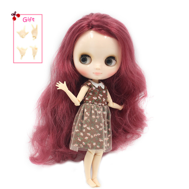 Factory Middie Blythe Doll Wine Red Hair Jointed Body 20cm