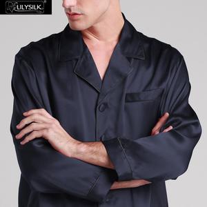 Image 2 - Kontrast Trim Ile 22 Momme LILYSILK Erkek Ipek Pijama Set Ücretsiz Kargo