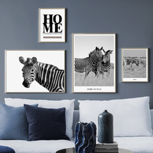 цена на Wall Art Canvas Painting Black White Zebra Photo Home Quote Nordic Posters And prints Animal Wall Pictures For Living Room Decor
