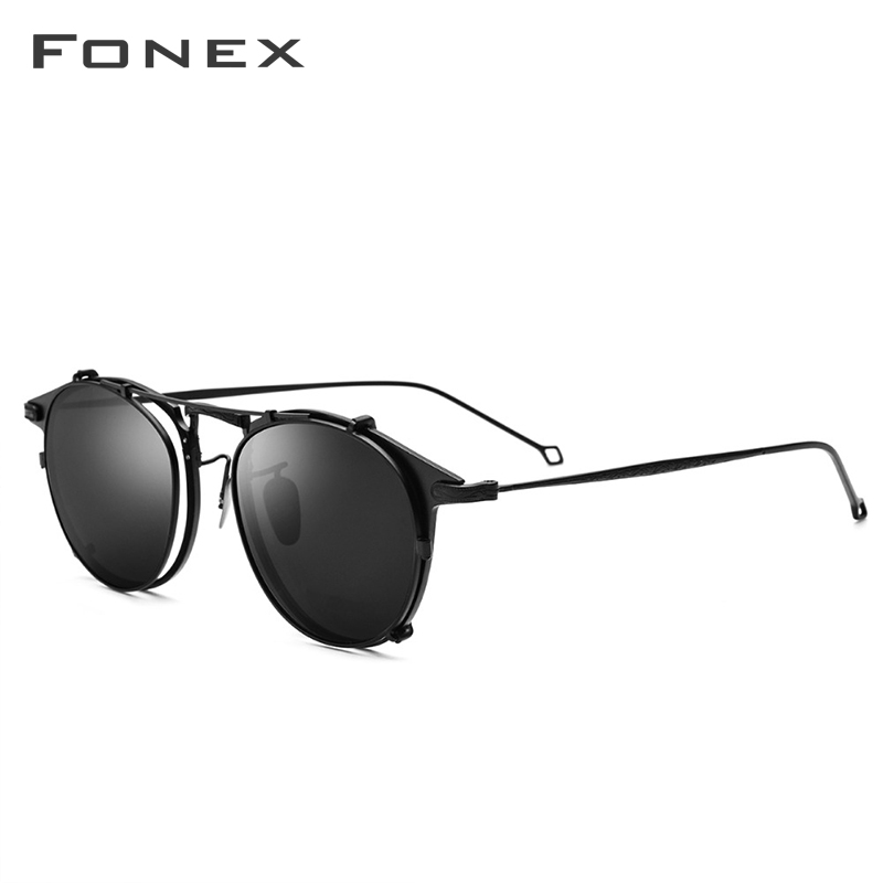 Image 2 - FONEX Pure Titanium Glasses Frame Men Clip on Polarized Sunglasses Prescription Eyeglasses Frame Women Round Optical Eyewear 502-in Women's Eyewear Frames from Apparel Accessories