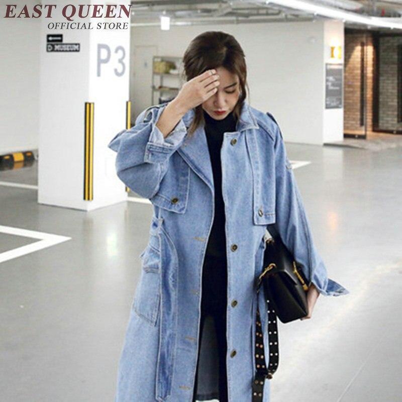 Manteau 1 Denim Jeans Hiver D'hiver H Femme Kk1482 2018 Femmes Clair Longue Veste Bleu zq66R