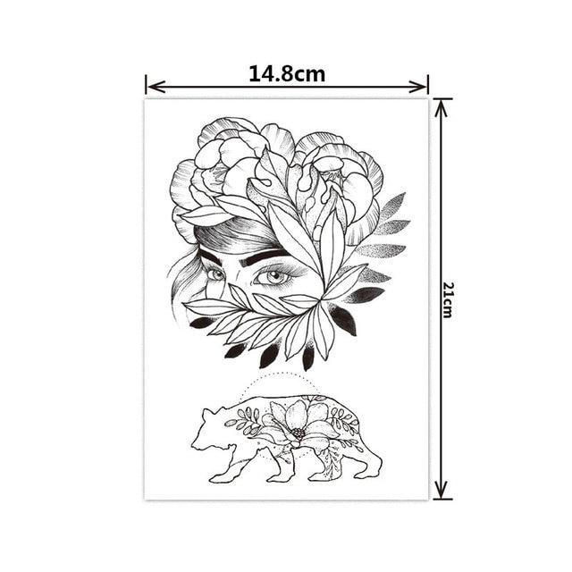 Fashion Black White Flower Tattoo Sticker Women Body Art Peony Rose Waterproof Water Transfer Temporary Tattoo 5