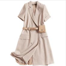 Ladies Elegant Khaki Blazer Office Dress 2019 Spring Summer Women Short Sleeve Pleated Mini Dress недорого