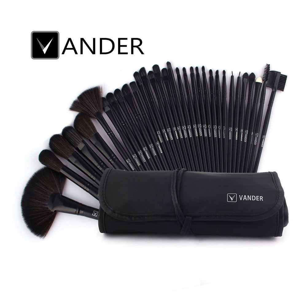 VANDER Black 32pcs Makeup Brush Set Professional Cosmetic Kits Brushes Foundation Powder Blush Eyeliner pincel maquiagem w/ Bag hengfang 52135 princess style water resistant eyeliner gel w brush black