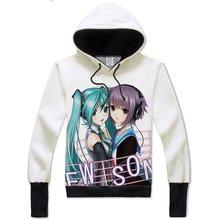Lovely Cartoon Hatsune Miku Cosplay Vocaloid Hoodie Hoody Sweatshirt Adult Teens