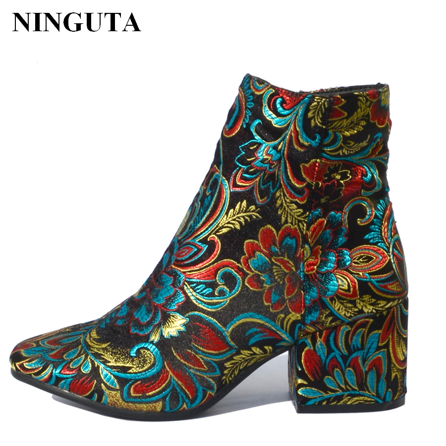 NINGUTA embroider ankle boots women heels for spring autumn fashion shoes woman 3 styles 1