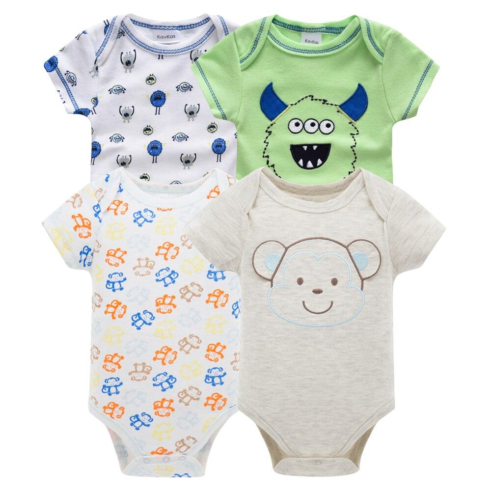 Kavkas/одежда для сна для маленьких мальчиков, комплект из 4 шт./компл., одежда с короткими рукавами для новорожденных, пижамы для мальчиков, Infantile, одежда для сна для маленьких мальчиков - Цвет: HY20792169