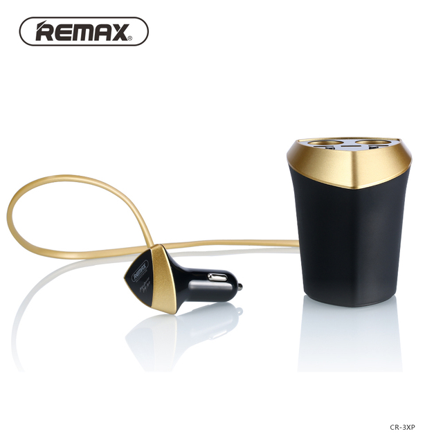 Remax 3.4A Smart Car Charger & Cigarette Lighter Adapter with LED display 3 USB Port Dual Charger Port for iPhone for Samsung