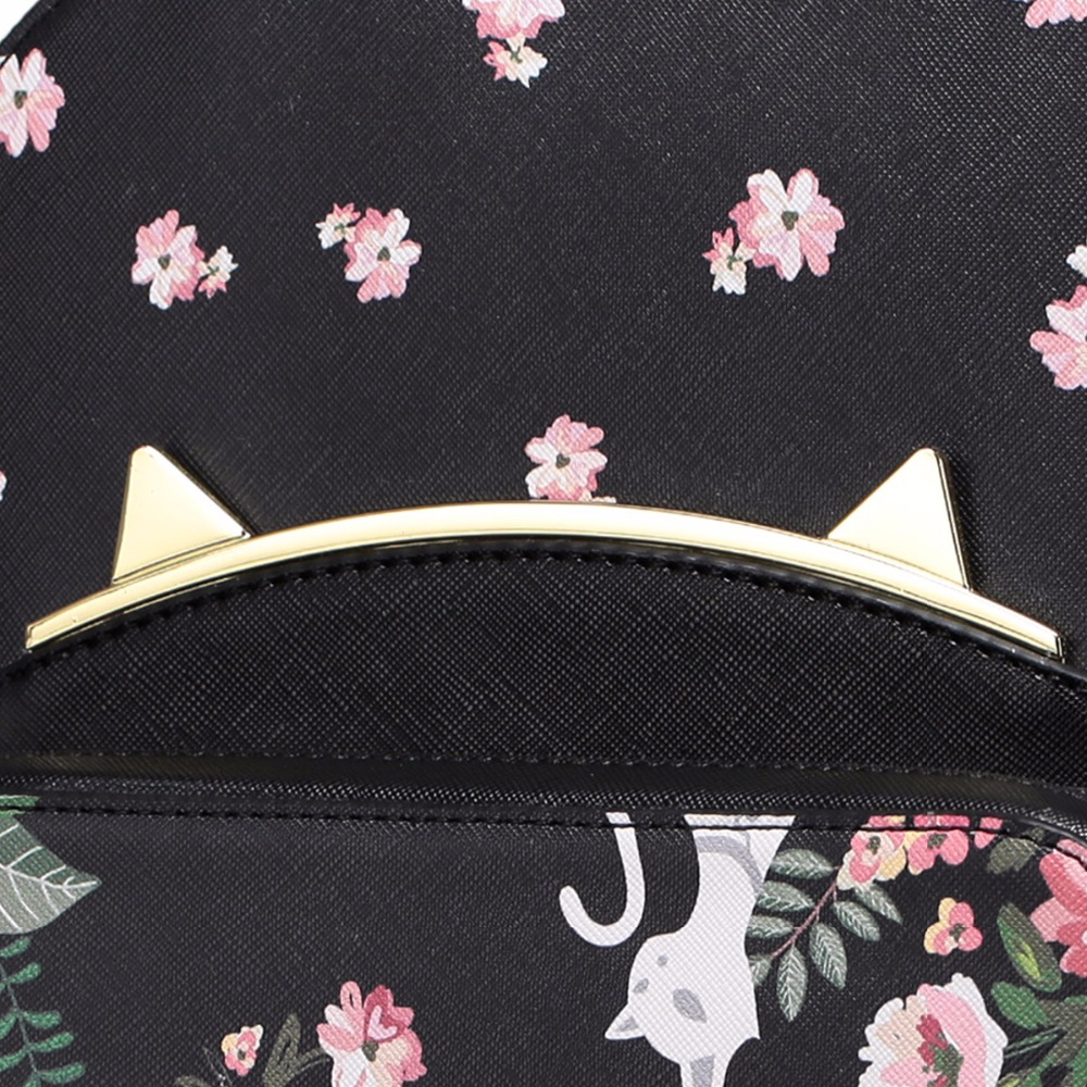 Impression Voyage À Dames Fille Conception Oreilles cherry Fleurs Sac Scolaire Marque Étudiant Épaules Sacs En Femmes Dos Pink Chat Cuir Pu Noir wIqpcZ7