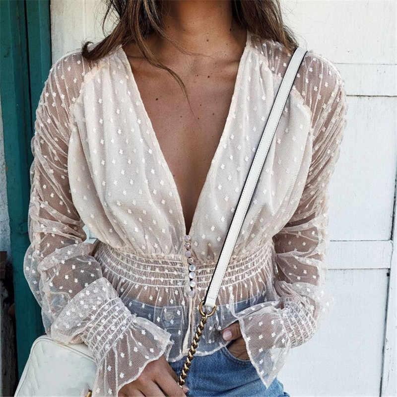 مثير T قميص المرأة كم طويل المرأة قمم 2019 الصيف منظور البولكا نقطة شبكة المحملة T قميص امرأة أنيقة الأبيض تي شيرت برقبة مثلثة
