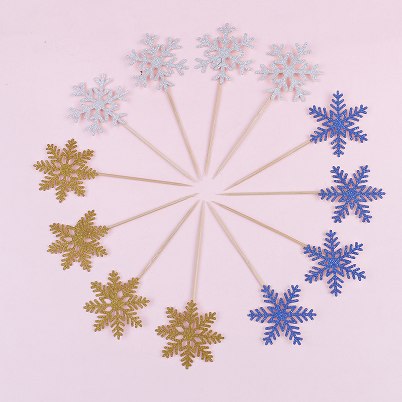 12pcslot Cute SnowFlake Cartoon Cupcake Topper Cake Flags For Wedding Birthday Party Baby Shower Decoration Supplies