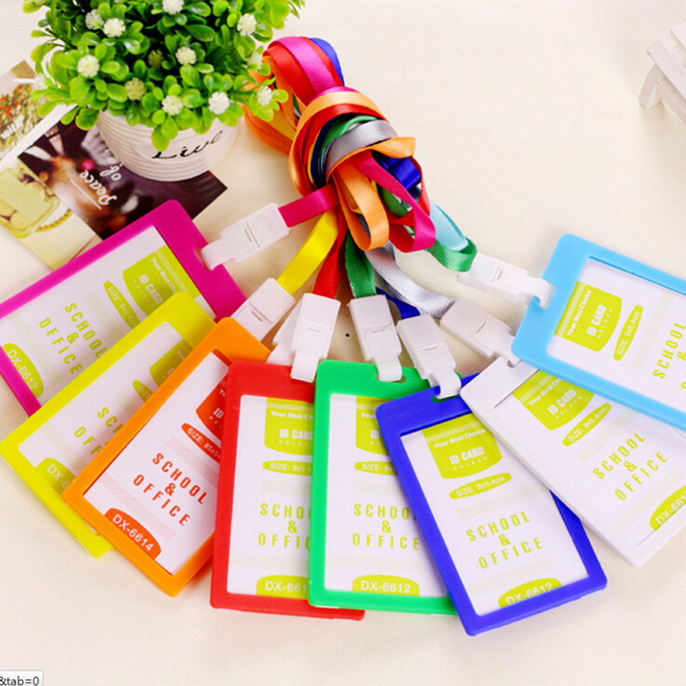 Labels, Indexes & Stamps Peerless Pvc Id Badge Holder Vertical Credit Card Bus Cards Case Papelaria Cute Stationery Supplies With Lanyard Badged Reel Office & School Supplies