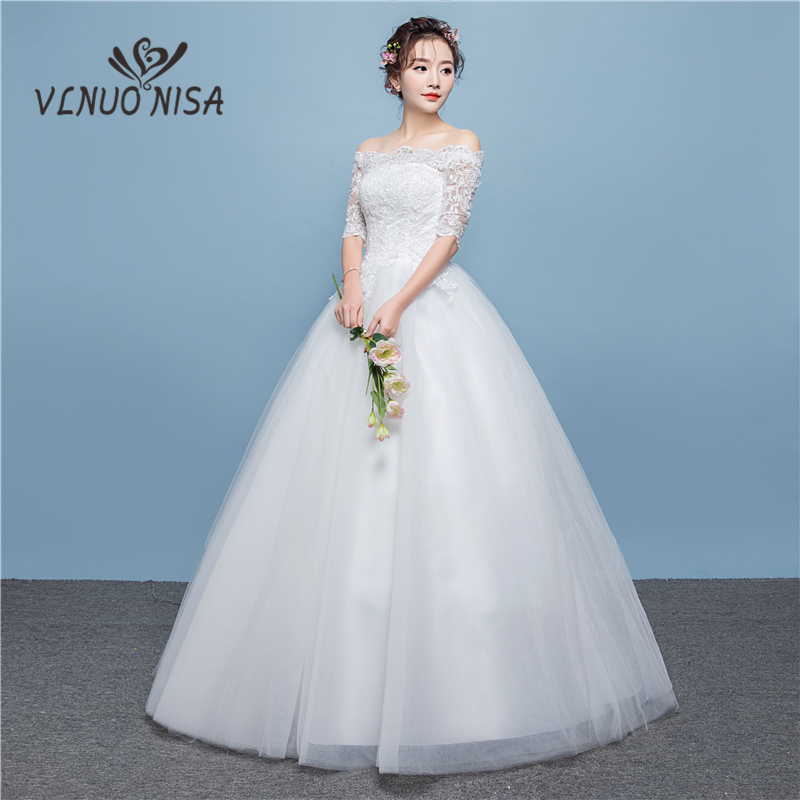 New Simple Elegant Lace Wedding Dresses 2020 Korean style Boat Neck Off Shoulder Half Sleeves Lace Up Floor-length Ball Gown