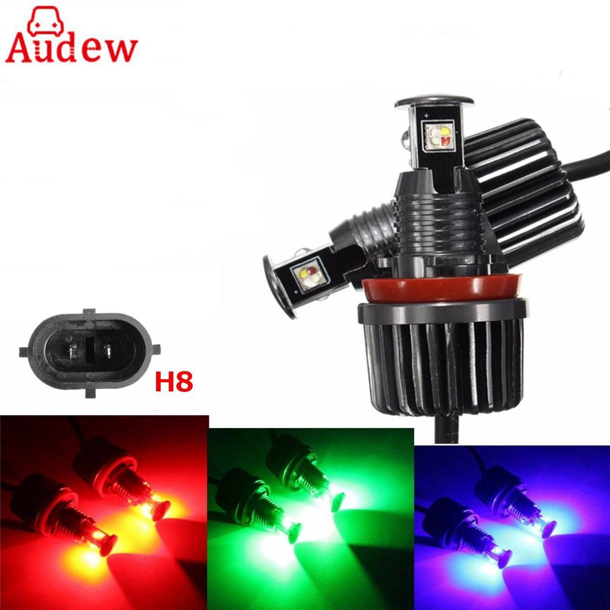 1Pair Car LED Light Bulb WIFI Control RGB Color Change Angel Eye Light LED Bulb No Error For BMW E90 E92 E93 X5 keyshare dual bulb night vision led light kit for remote control drones