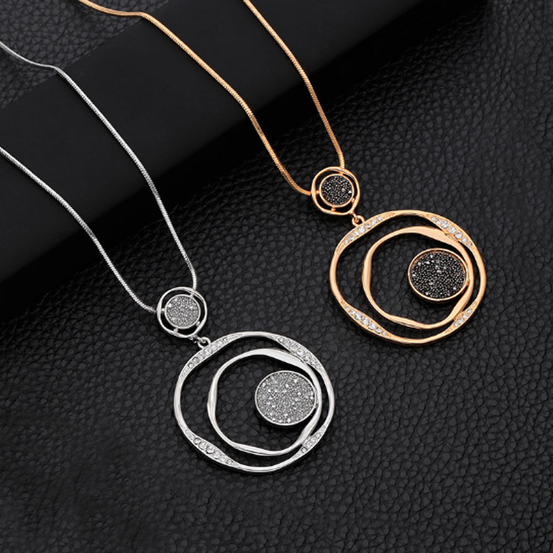 Fashion Hollow Out Sweater Chain Crystal Pendant Necklace Gold Big Circle Round Pendant Long Necklace For Women Jewelry Gift