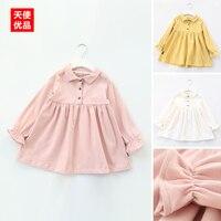 Kız Yaka Elbise 2017 İlkbahar Giyim Yeni Desen çocuk Konfeksiyon Çocuk Bebek Çocuk Düz Renk Gelir Manşet Kore Elbise