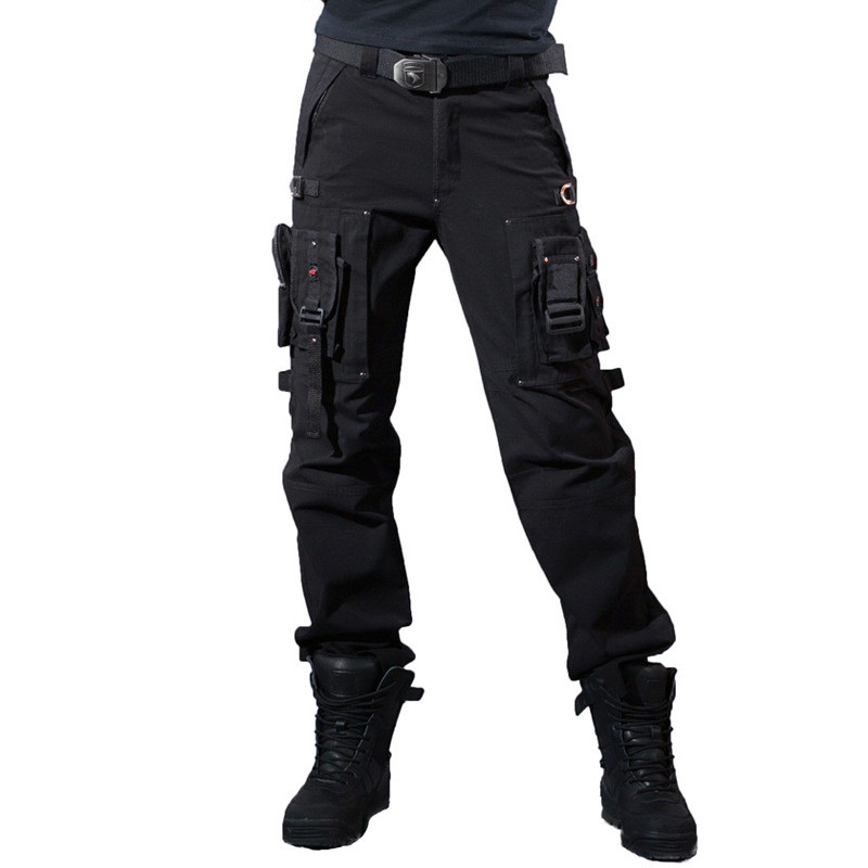 Multi-Pocket Hiking Pants Overalls Mens Army TACTICAL PANTS MILITARY Knee Pad Male US Combat Army Style Straight Trousers pocket zipper fly straight leg corduroy pants