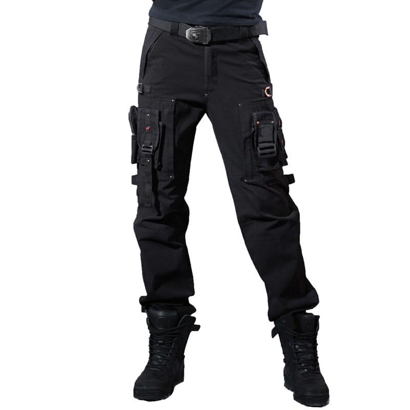Multi-poche randonnée pantalon salopette hommes armée tactique pantalon militaire genouillère mâle US Combat armée Style pantalon droit