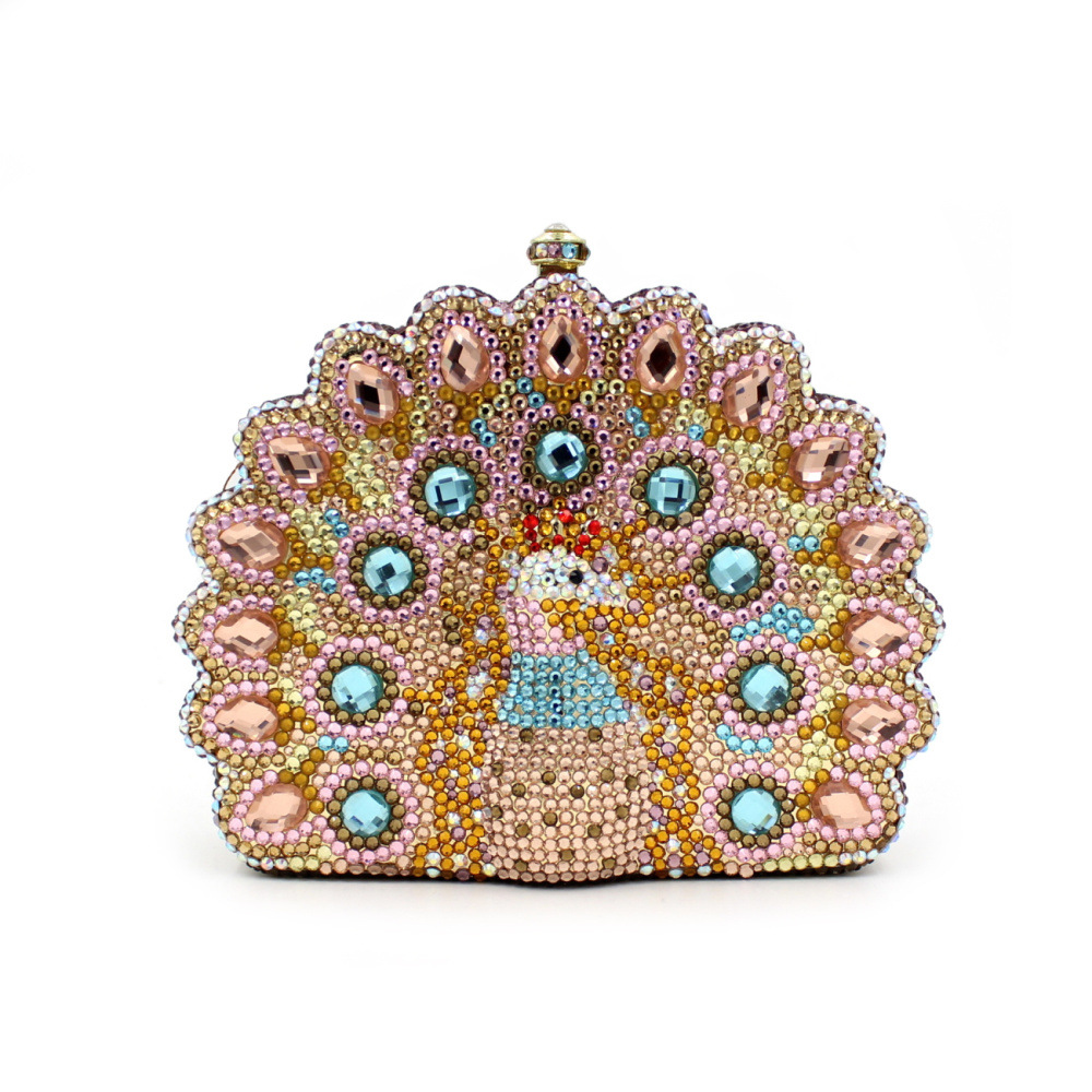 BL047 Luxury diamante evening bags colorful clutch bags women party purse  dinner bags crystal handbags gemstone wedding bags