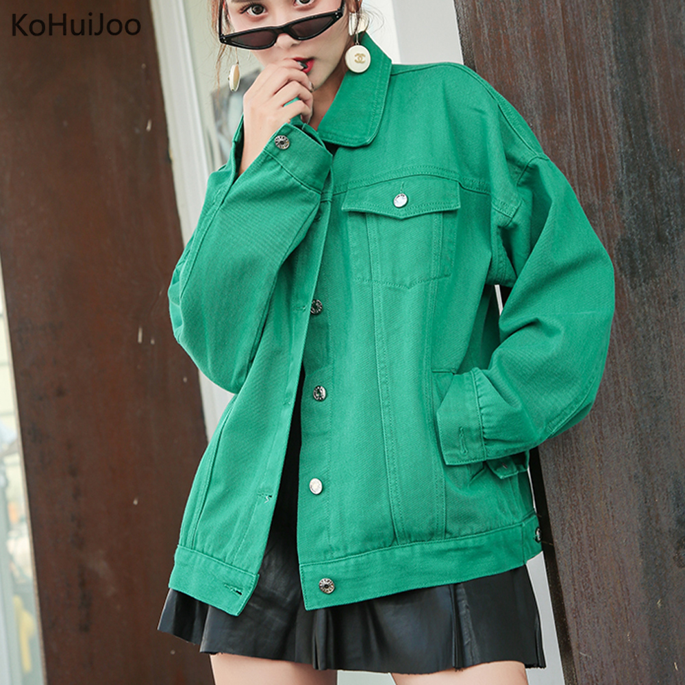 KoHuiJoo 2019 Women's Candy Colored Denim   Jacket   Spring and Autumn Loose Korean Single Breasted Loose   Basic     Jackets   and Coats
